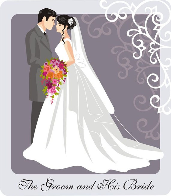wedding couple illustration and clip art with scroll rh etsy com wedding couple clipart vector wedding couple clipart vector