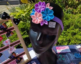 Large Triple Kanzashi Flower Headband