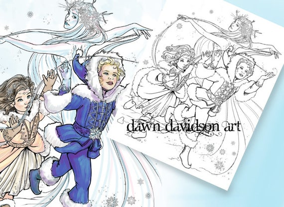 Children Of Winter Coloring Page Fantasy For Adults Snow Queen Jack Frost Christmas