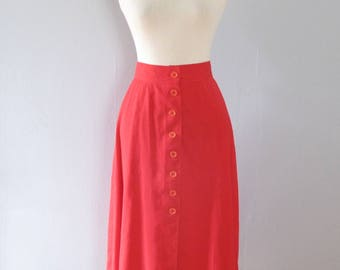 red full skirt - 70s vintage bright cherry high waisted mod knee length midi button up a line mod retro cotton ILGWU summer picnic 1970s