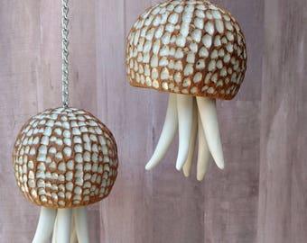 Ceramic Wind Chime. Gift for mom. Large, white, porcelain Jellyfish hanging sculpture. Beach house garden art gift. Ceramic Dinner bell