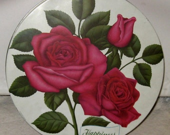 Vintage Candy Tin Large Chocolate Candy Tin Big Red Roses Happiness by Star Roses Chocolate Candy. Storage Tin