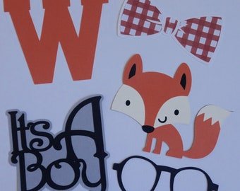 Dapper Fox Die Cuts 5 pieces, It's a Boy, Fox, Bow Tie, Glasses, Letter