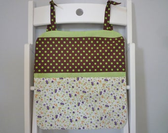 Wall Organizer in fabric, flowers and dots