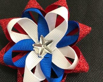 Red, white, blue hair bow #35