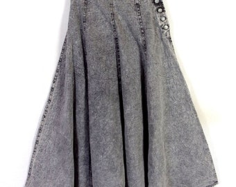 vtg 80s Palmetto's Gray Acid Wash Denim Jean Skirt GRUNGE High Waist SZ 9