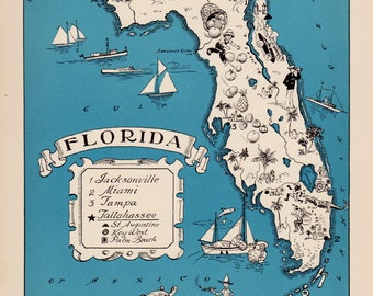 30's Vintage FLORIDA Picture Map of Florida State Cartoon Map Print Gallery Wall Art Library Office Decor Gift for Traveler Birthday Wedding