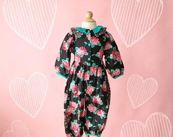 Vintage 1990s Pink And Black Floral Romper (Size 4T)