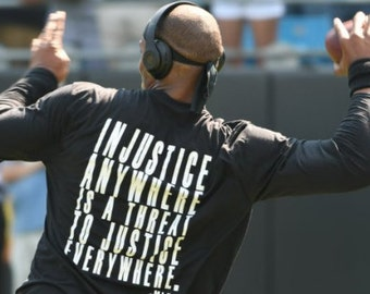 MLK Quote Injustice Anywhere is a Threat White Logo Long Sleeve Black Lives Matter Equality Movement Cam Newton Injustice Shirt Black L/S
