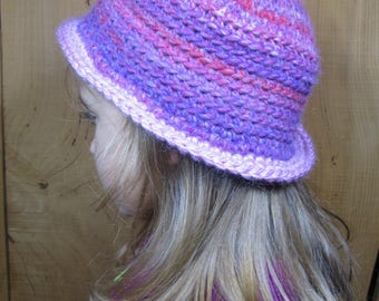 Beanie Hat purple 4/5 years old girl, crocheted, customize