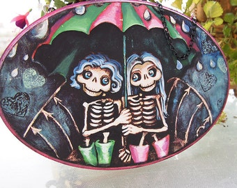 Best Friend Wall Hanging Plaque. Cute Skeletons under umbrella Pink Green Stripes. Wood Art Gift for sister, bestie, BFF Home Decor painting