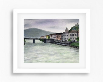Salzburg Print, Salzburg Austria Painting Print, Austria Landscape Painting, Salzburg Art, Austria Artwork, Austria Wall Art, Salzburg River