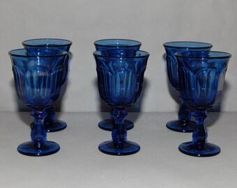 Reserved for Delena ONLY Wine Glasses by Imperial Glass Ohio in the Old Williamsburg Antique Blue Pattern, Set of 6, circa 1966-1975