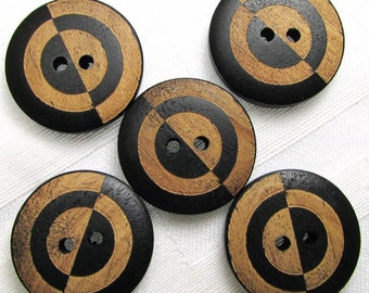 """Opposites Attract: 15/16"""" (24mm) Black / Natural Wood Painted Buttons - Set of 5 New / Unused Buttons"""
