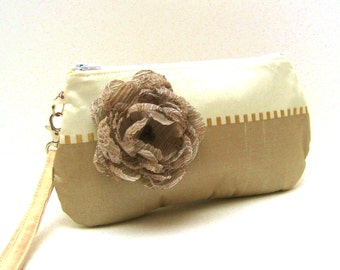 Bridal Bridesmaid Clutch Purse Wristlet Ivory Cream and Taupe Shimmer with Flower Brooch