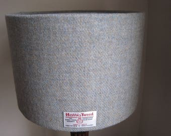 Handmade Harris Tweed Drum Lampshade in Duck Egg Blue