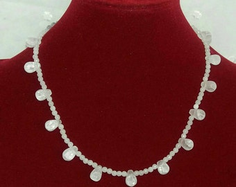 White drilled frosted quartz  necklace