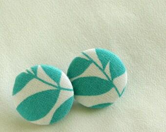 Button Earrings Aqua Leaves on White Post Earrings - Handmade in USA