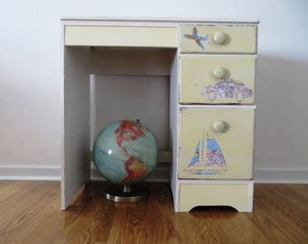Painted 1950s Child's Desk and Chair - Dr. Seuss Inspired - LOCAL Pick Up Only