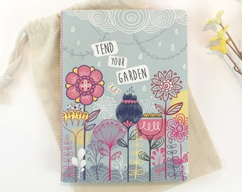 Writing journal Bullet journal Bujo Floral notebook Mindfulness Gift for girl Tend Your Garden quote Dot Grid Journal Mothers day gift