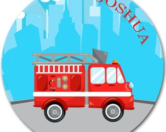 Kids personalized plate - Firetruck dinnerware - Kids Gifts