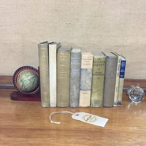 Rustic Book Decor | GREY BLUE BEIGE | Vintage Book Stack | Rustic | Farmhouse Style | Old Books Decoration | Shelf Staging | Vintage Books