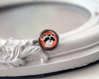Cute raccoon ring  feminine sweet cute kawaii retro vintage orange
