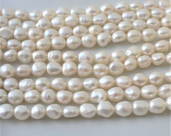 Cream Rice Pearls  Ivory Rice Pearls White Pearls 7-7.5mm Pearls Oval Pearl Real Pearls Genuine Pearls Freshwater Pearls - Full Strand RP116
