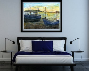 The boat landscape, Original, Art Print, Zeichnung, Illustration