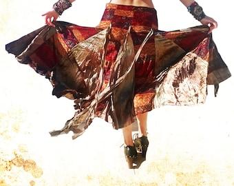 Hippie skirt, Tribal Fusion Skirt, Velvet Skirt, Gypsy Skirt, ATS Dance Skirt, Gypsy Boho Clothing, Asymmetrical Skirt, Belly dance Skirt