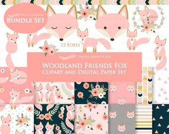 Fox Clipart, Pink Fox, Woodland Friends, Fox Digital, Fox Clip Art + Digital Paper Set - Instant Download