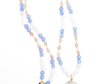 White, Blue, Pink Beaded Necklace + White Geode Pendant