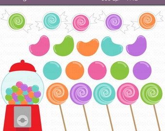 Candy Digital Art Set Clipart Commercial Use Clip Art INSTANT DOWNLOAD Gumball Clipart Candy Clipart
