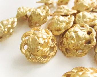 Vintage Matte Gold Spiral Lion Head Buttons, Large Plastic Buttons, Vintage Buttons, Button jewelry, Sewing buttons, sew on buttons