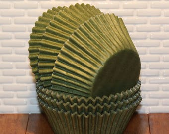 NEW - Olive Cupcake Liners (Qty 45) Olive Baking Cups, Olive Muffin Cups, Cupcake Liners, Baking Cups, Muffin Cups, Green Cupcake Liners,