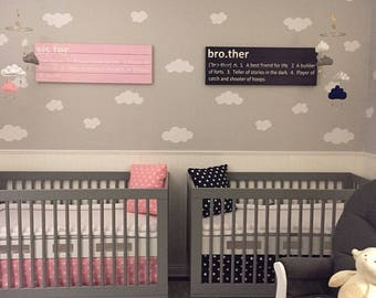 Twin Crib Bedding, Crib Skirt, Fitted Sheet and Pillow