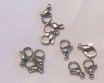 10 Stainless Steel 12mm Lobster Clasp, Jewelry Clasps, Jewelry Supplies,  Findings & Hardware,  (C-006)