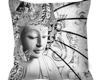 Buddha Throw Pillow - Bliss of Being - Black and White Buddhist Art Pillow - Zen Home Decor