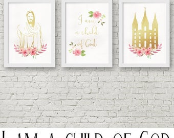 LDS Art - I am a child of God, Christ and Temple Art - Gold/Girl