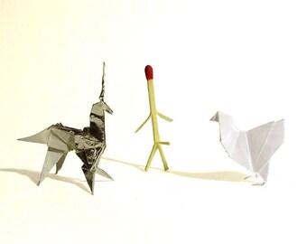 BLADE RUNNER - 1:1 Scale Origami Prop Set (Chicken, Matchstick, Unicorn)