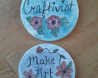Crativism Button 2-pack - #Craftivist #MakeArtNotWar #Peace #Resist