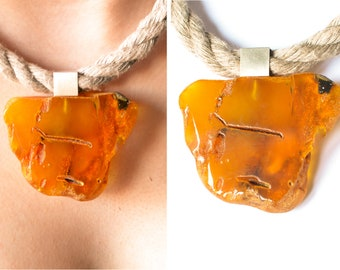 Baltic amber pendant, amber necklace, orange, genuine amberstone, sterling silver 925, for woman, with chain, amber Pendant