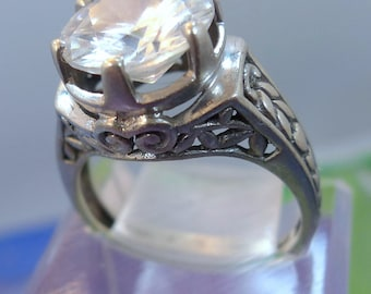 Size 7 Ring Chunky Sterling Engagement Solitaire W/ Hearts On Setting ~~ Designer Signed  (TSY.99.07)