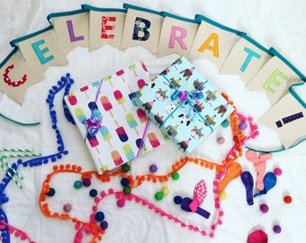 Celebrate! Canvas banner. Canvas bunting