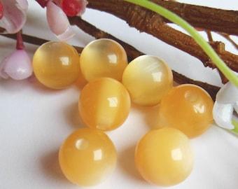 set of 4 round yellow acrylic beads