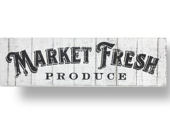 Farm Fresh Produce 9 x 30 inches- printed on cool rustic boards- Market Fresh Produce sign, Grocery Sign, Kitchen sign, Farmhouse sign