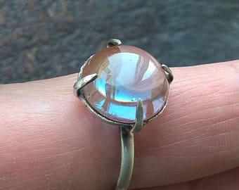 Antique 1800's Large 13MM Un-Foil REAL SAPHIRET 925 Sterling Silver Vintage Ring
