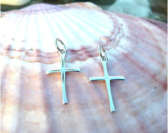 Pair of Beautiful Sterling Silver Cross Pendants, Religious Charms, Faith Earrings