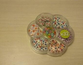 Imp 32 flower wood buttons.