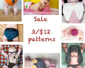 Sale- 3 Crochet Patterns for 12 Dollars
